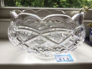 """Heavy Large WATERFORD CRYSTAL DEEP CUT FRUIT BOWL On Foot 7.3""""Dia 4.5"""" H Signed"""