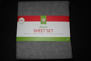 Evergreen Decor Target flannel sheet set solid grey FULL size NWT