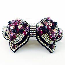 HANDMADE BARRETTE use Swarovski Crystal Hair Clip Hairpin Elegant BOW Purple 320