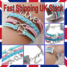 Infinity Friendship Bracelet Bangle Silver Anchor Love Pink Blue Ladies Girls