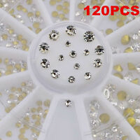 120pcs Nail Glitter Rhinestones Diamond Gems Wheel 3D Nail Art Decoration Tool