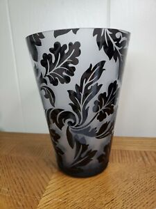 """Large Glass Frosted and Black Flur De Lis Design 8"""" Tall 5.5"""" wide mouth"""
