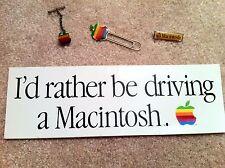 Vintage Apple Rainbow Logo Paper Clip, Tie Tack, Macintosh Pin & Bumper Sticker