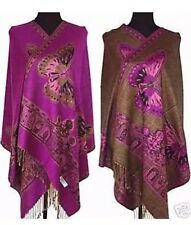 NEW Reversible Double Sided PURPLE Butterfly Pashmina Scarf Wrap Shawl Cape
