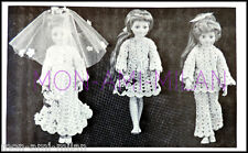 "VINTAGE Crochet Pattern DOLLS CLOTHES WEDDING OUTFITS SINDY & 18"" LARGE DOLL"