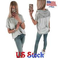 Women's Summer Lace Hoodie Tops Loose Casual Short Sleeve Hooded T-Shirt Blouse