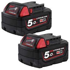 2 Milwaukee M18B5 18V 5.0Ah Li-Ion RED LITHIUM Battery