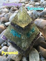 Amethyst and Turquoise Orgonite Pyramind ( Emf Protection ) Orgone Energy