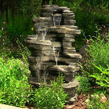 "39"" Outdoor Garden Electric Rock Water Falls Fountain w/ Led Lights"