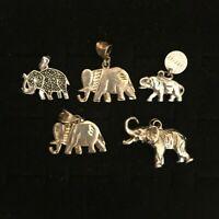Vintage Sterling Silver Charms Elephants Lot Of 5 Pendants Safari 925 Dumbo