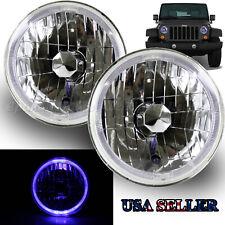 "BLUE LED HALO FOR JPN CAR! 7"" H6014 H6017 H6024 USA CLEAR REFLECTOR HEADLIGHTS"