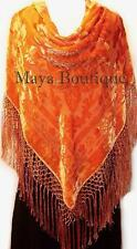 Orange Piano Shawl Wrap Scarf Silk Burnout Velvet Hand Dyed Maya Matazaro