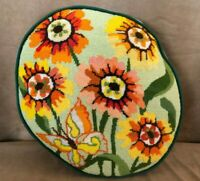 Vintage Floral needlepoint flower butterfly pillow hand made mid century throw