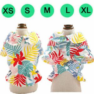 Cute Dog Clothes Casual Hawaiian Floral Shirt Small Dog Cat Vacation Dress XS-XL