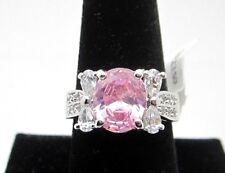 Cubic Zirconia Ring Size 9 Pink Oval Shape Silver Tone Rhodium Plated