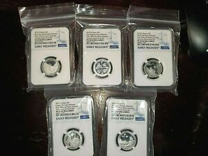 2019-S  First .999 Fine Silver Quarters Set, EARLY RELEASES, NGC PF 70 UC