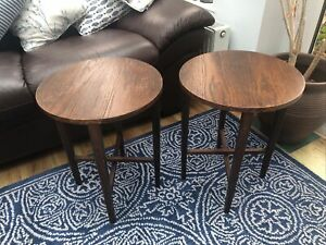 2 x Poul Hundevad Danish G-Plan Style Folding Round Teak Side Tables Stands