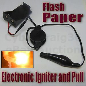 FLASH PAPER ELECTRONIC IGNITER AND PULL MAGIC TRICK UTILITY FIRE WOOL FLAME NEW
