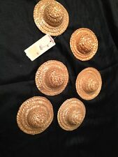 Straw Doll Hats Or For Decoration New From Ben Franklin Store Lot Of 6