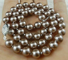 """8mm Silver Champagne South Sea Shell Pearl Necklace 18"""" AAA+"""