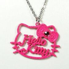Pendentif Hello Kitty chaîne noeud couleur rose paillettes