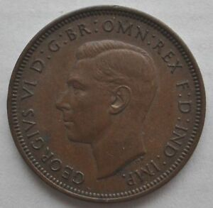 1938 UK Great Britain Half Penny Coin in XF+