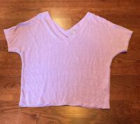 Chico's Women's Size 2 Purple 100% Linen V Neck Blouse T-Shirt Large