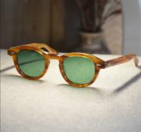 Johnny Depp sunglasses retro mens solid acetate blonde frame green lens glasses