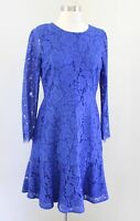 J Crew Womens Blue Floral Lace Tiered Flounce Dress Size 6 Cocktail Party