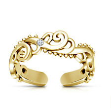 Wave Adjustable Toe Ring Beach jewelry 10k Yellow Gold Finish Diamond Women's