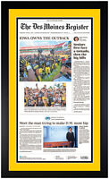 Iowa Hawkeyes Outback Bowl Champions 1/1/2018 Newspaper Print Framed! NEW!