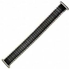 Mens 16-19mm Black Silver Twist O Flex Romunda Metal Expansion Watch Band Strap