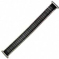 Mens 16-19mm Black Silver Twist O Flex Romunda Metal Expansion Watch Band Strap