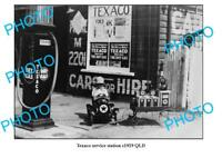 OLD LARGE PHOTO OF TEXACO SERVICE STATION QLD c1930 PETROL BOWSER etc