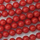 20 Red Coral 6mm Swarovski Crystal Pearls - Style 5810