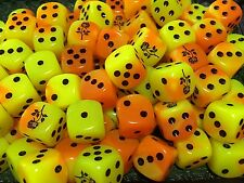 D6 Rose Flower Dice - Customized Six Sided Die Orange Yellow and Black