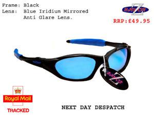 RayZor Black Sports Wrap Sunglasses Uv400 Blue Iridium Mirrored Lens RRP£49 (478