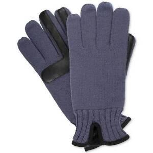 $125 Isotoner Men Blue Black Knit Stretch Smartouch Warm Winter Gloves One Size