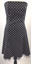 Jessica McClintock black Strapless Dress White Polka Dot Party Dance Sz 9/10 V16