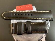 Genuine Panerai OEM 26mm black calf leather strap with white stitching