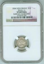 1864 New Brunswick 5 cents, Small 6, NGC VF Details