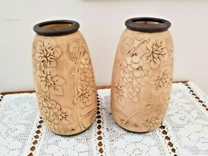 Weller Pottery Burntwood Grape & Leaf Matching Large 11 3/4 Vases Rare