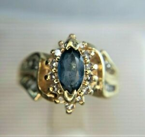 1.50Ct Pretty Marquise Cut Blue Topaz Women's Cocktail Ring 14K Rose Gold Finish
