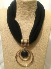 Womens Statement Chunky Long Big Large Gold Black Fabric Beaded Pendant Necklace