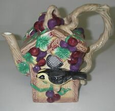 Collectible Novelty TEAPOT w Lid Ceramic Jay Willfred Birdhouse Andrea by Sadek