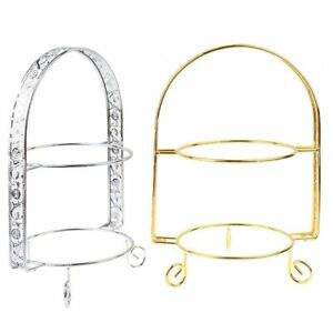 Wedding Cake Stand Tray Plate Display Round Birthday Metal Double Layer Gold