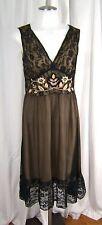 Hale Bob Sz. XS Black Chiffon & Lace Embroidered Gatsby Silk Occasion Dress