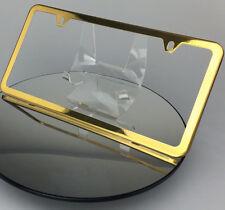 2 Hole Powder Coated Gold Stainless Steel License Plate Frame Slim Holder Lexus