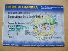 Ticket: CREWE ALEXANDRA v LEEDS UNITED, Coca Cola Championship, 1 November 2005