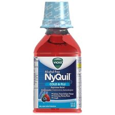 Vicks Nyquil Cold - Flu Relief Liquid, Alcohol Free, Berry Flavor 12 oz 2pk